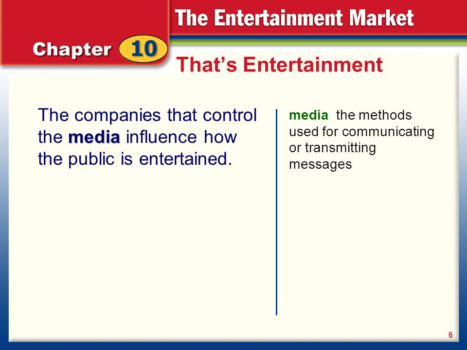 influence of entertainment media The impact of video games video games are a unique form of entertainment because they encourage players to become a part of the game's script although video games have been available for more than 30 years, today's sophisticated video games require players to pay constant attention to the game.