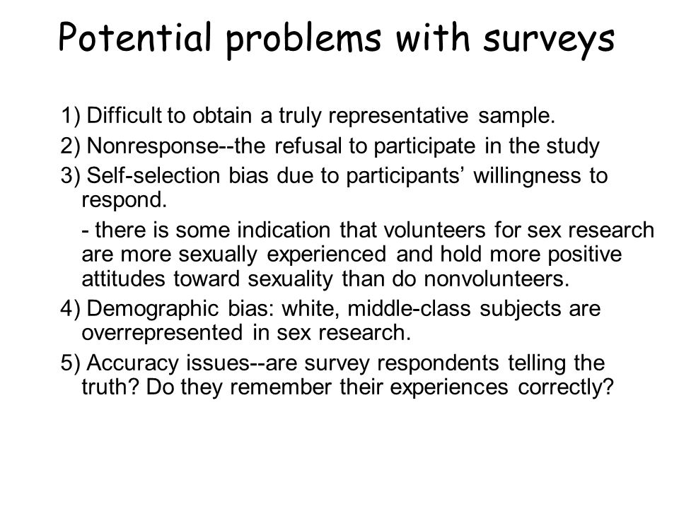 Sex surveys and their methodological problems your place