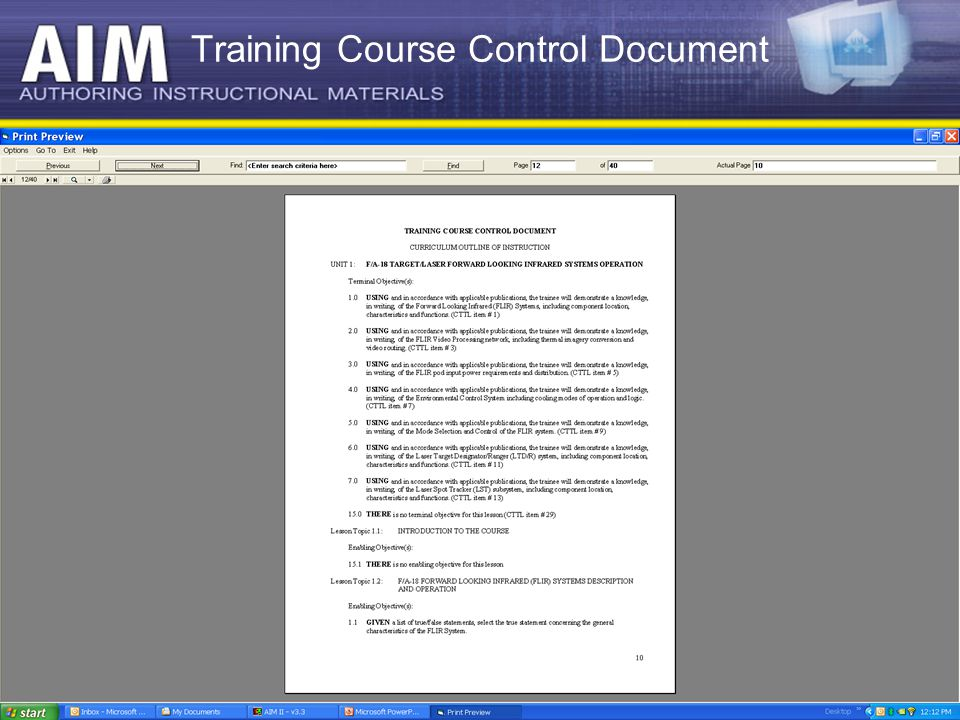 1 report status of traditional and modernized aim ppt for Documents control course