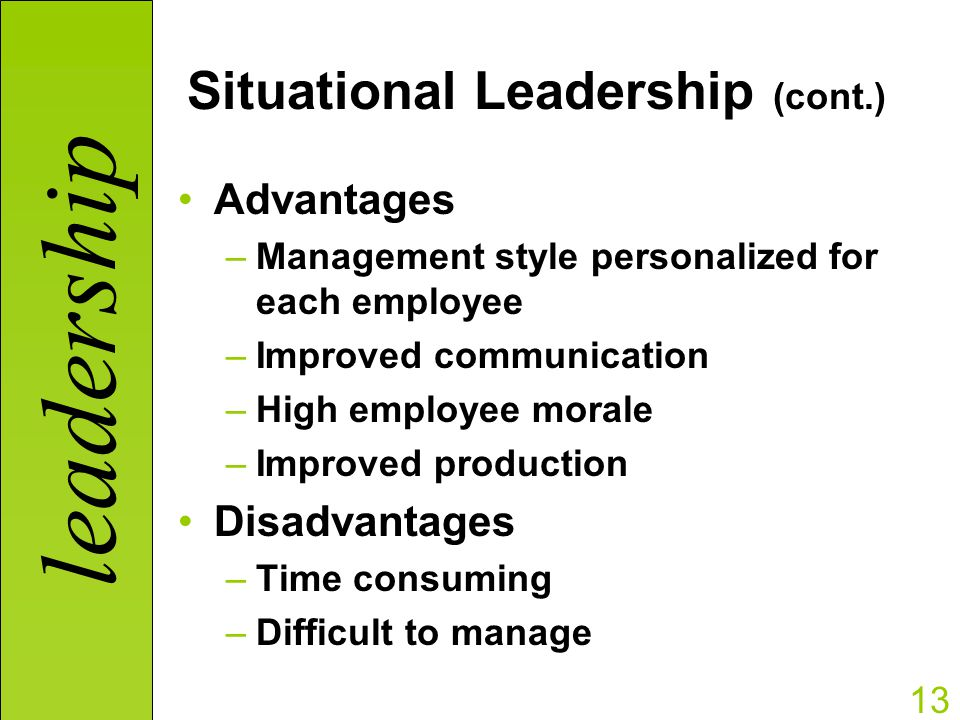 Leadership Theory - Disadvantages and Advantages