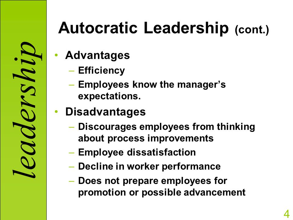 question what is autocratic leadership answer Leadership is simply causing other people to do what the leaders want good leadership, whether formal or informal, is helping other people rise to their full potential while accomplishing the mission and goals of the organization.