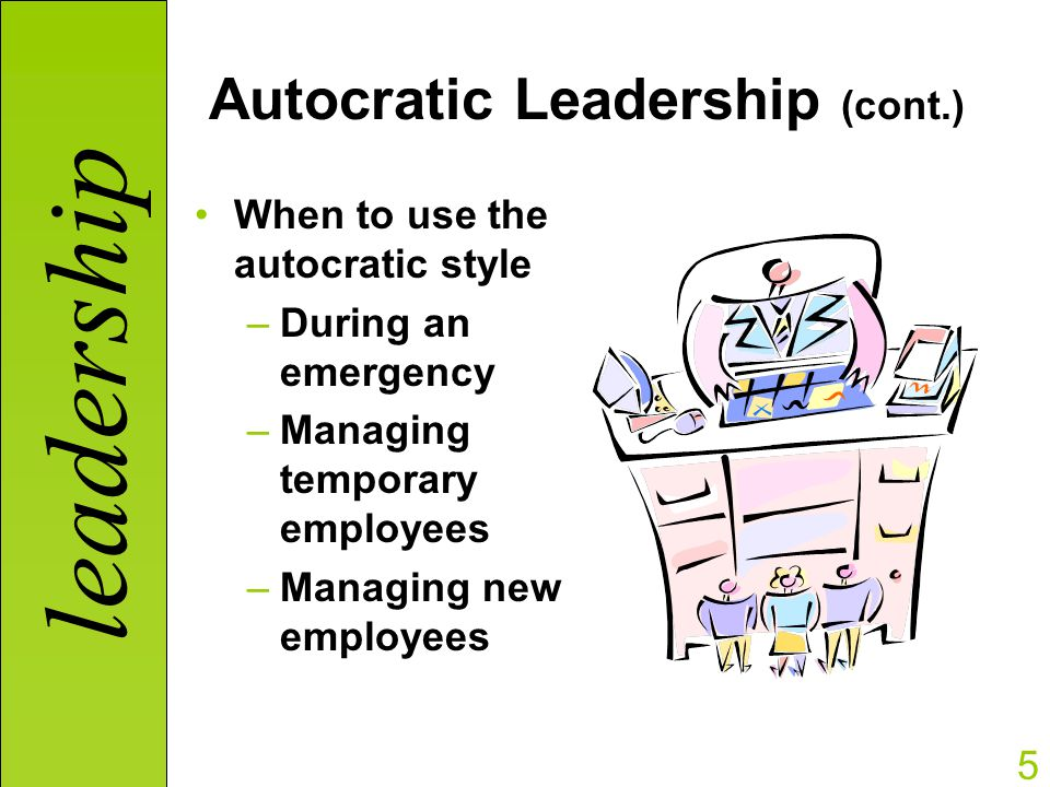 autocratic leadership styles Autocratic leaders typically make choices based on their own ideas and judgments and rarely accept advice from followers autocratic leadership leadership styles.
