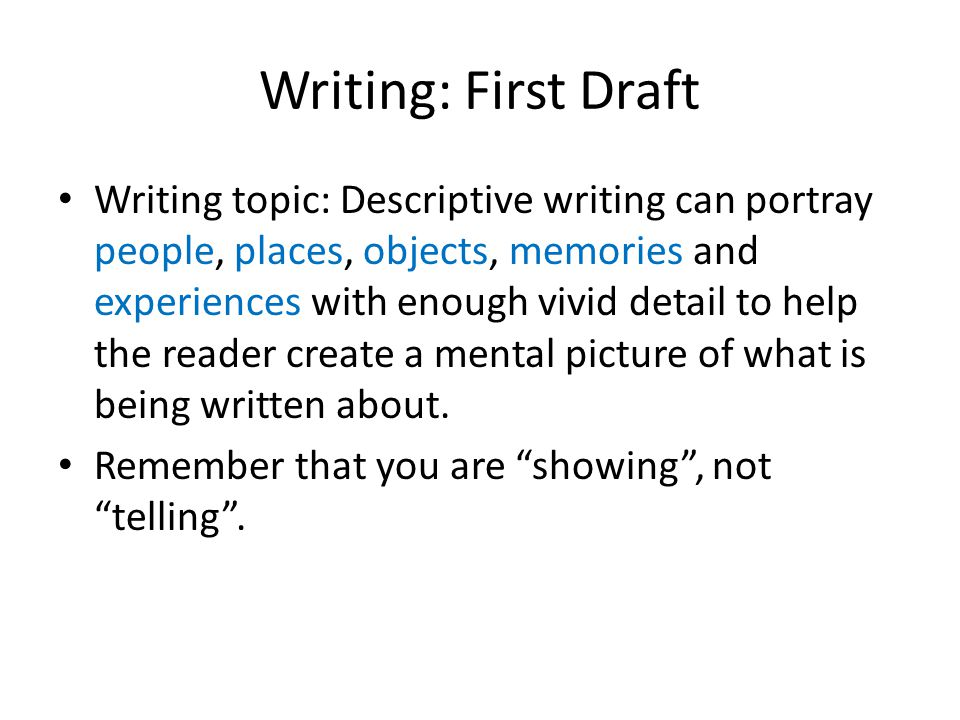 descriptive essays powerpoint Descriptive essays a descriptive essay is an essay that describes someone or something in colorful, vivid detail the intent is to create a visual picture with words .