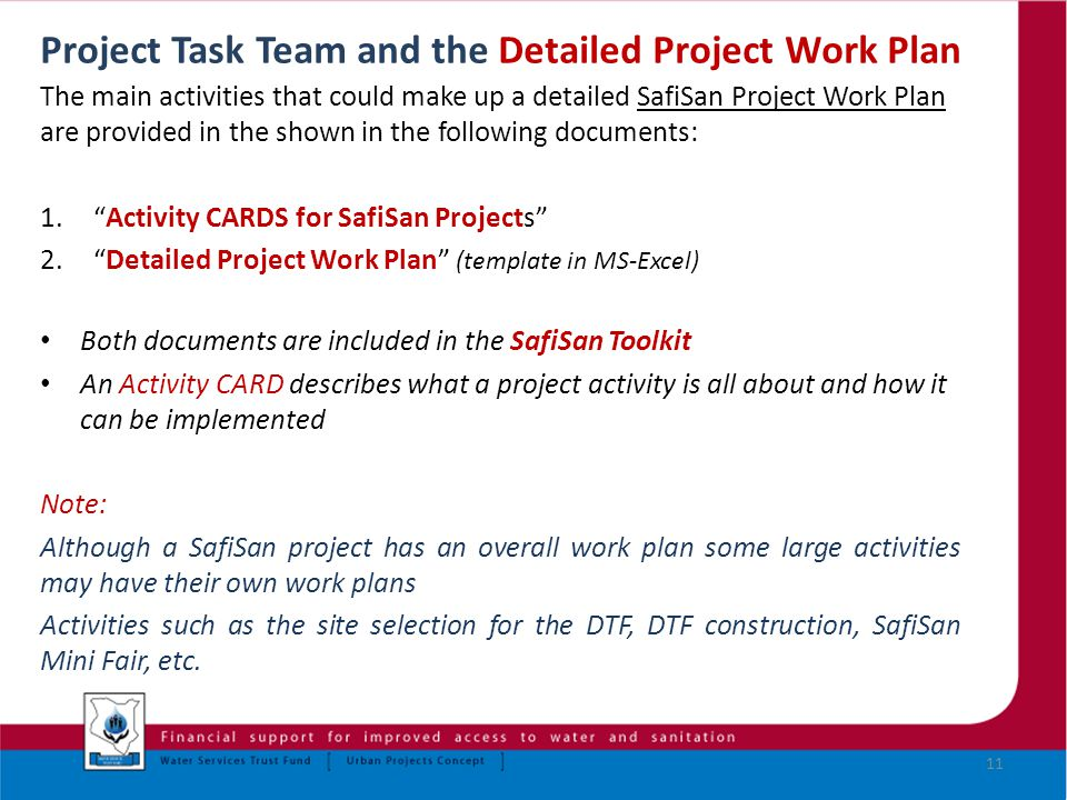 Water Services Trust Fund SafiSan Projects The Project Task Team – Work Plan Template Microsoft Office