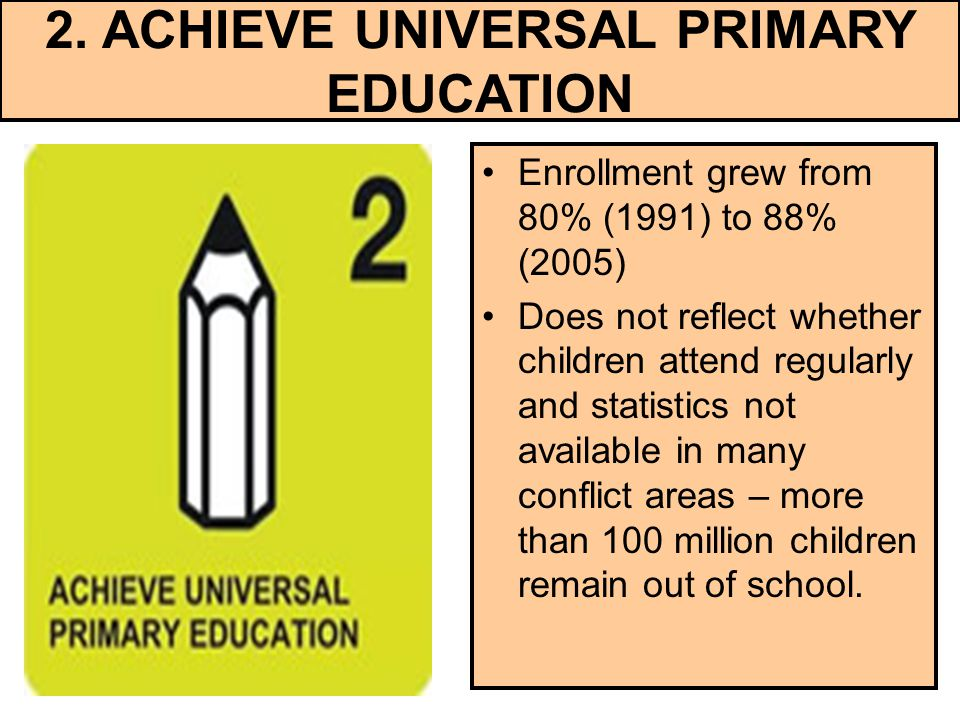 2. ACHIEVE UNIVERSAL PRIMARY EDUCATION