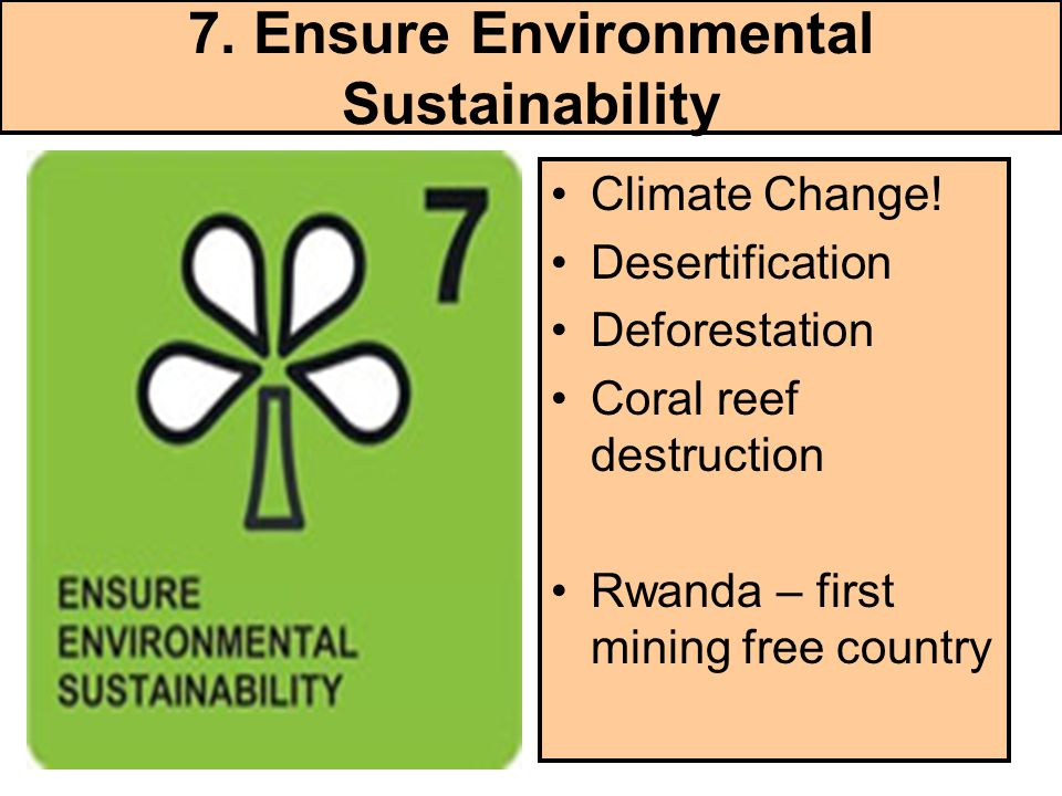 7. Ensure Environmental Sustainability