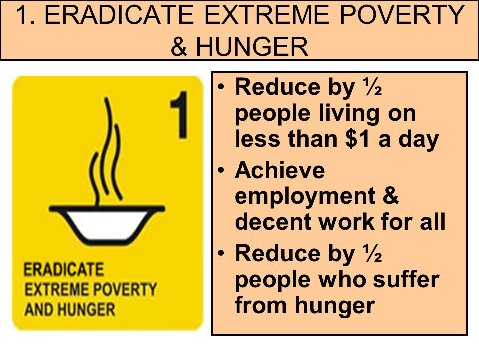 1. ERADICATE EXTREME POVERTY & HUNGER