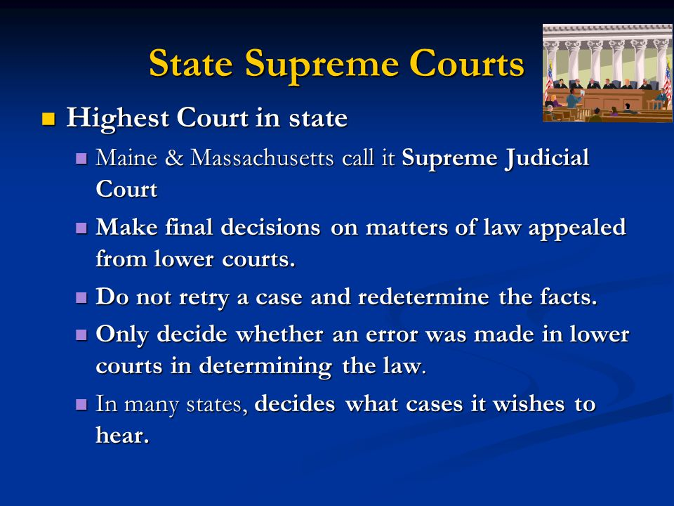 State Supreme Courts Highest Court in state