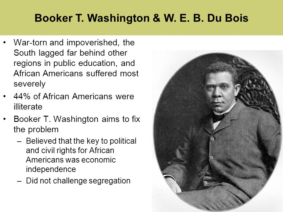 comparison of booker t washington and w e b du bois American leaders, booker t washington and web du bois arose to accomplish one goal, education for all african americans during the turn of the century, between the years 1895 and 1915 there were many theories on how african americans were going to achieve first-class citizenship.