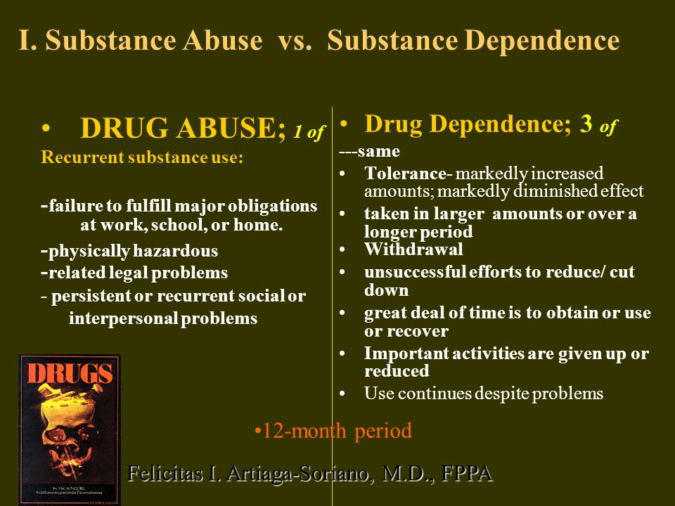 Three basic characteristics of a drug dependent person