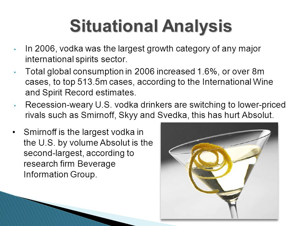 skyy vodka bottle analysis Brand in action smirnoff absolut campaign analysis +  africa 2 situational analysis • • • in 2006, vodka was the  skyy spirits the blue bottle and the.