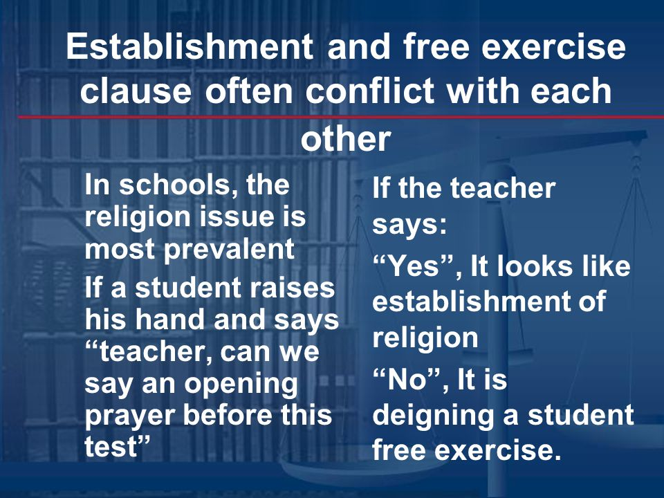 analysis of free exercise clause and establishment clause essay The true meaning of the establishment clause but an objective analysis of the evidence further language stated that everyone should be free to profess and to.