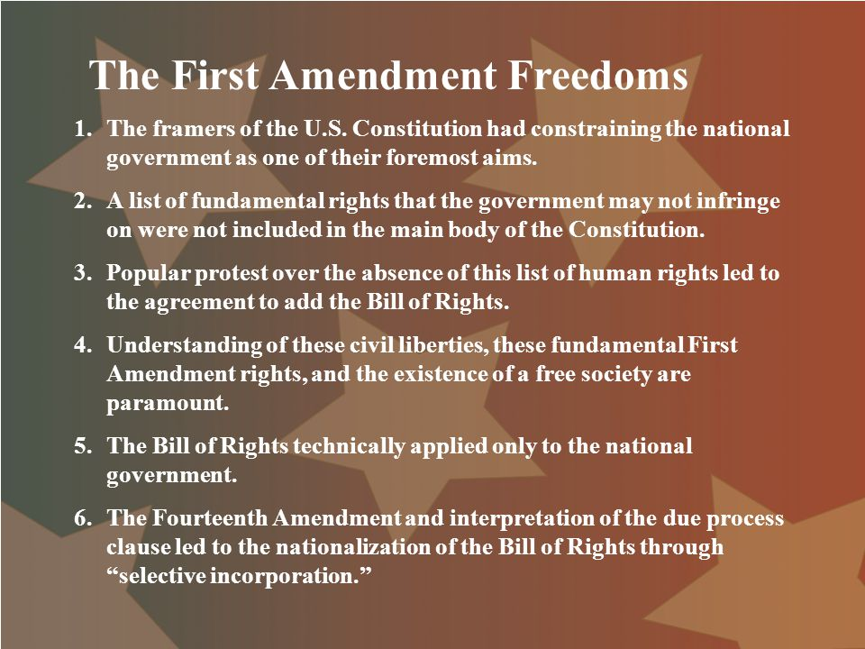 first amendment The first amendment to the united states constitution is a part of the united states bill of rights that protects freedom of speech, freedom of religion, freedom of assembly, freedom of the press, and right to petition.