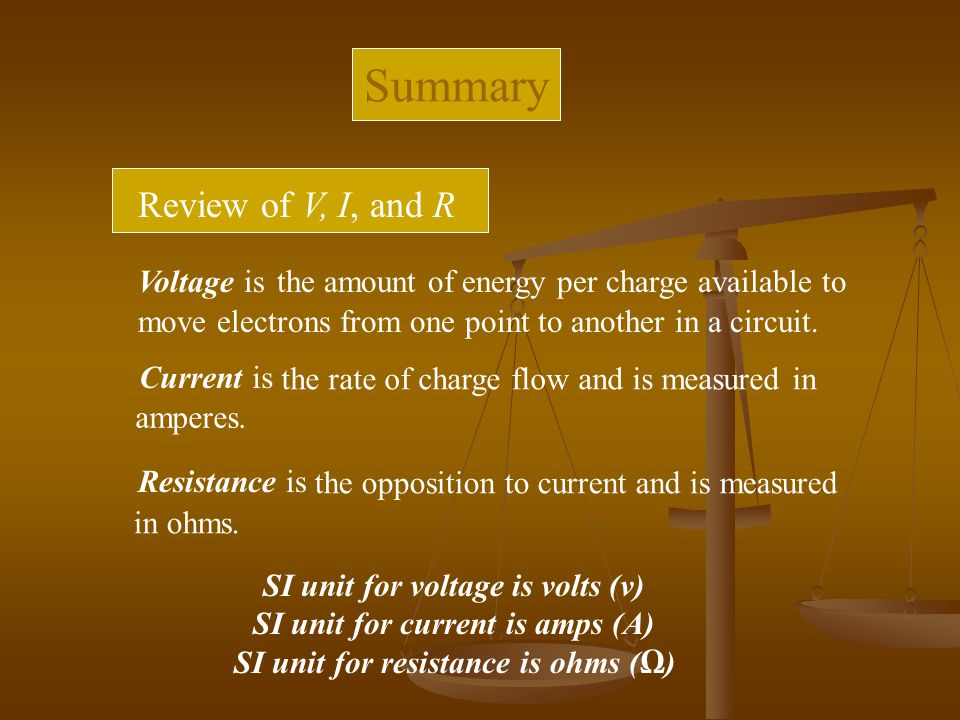 Summary Review of V, I, and R Voltage is
