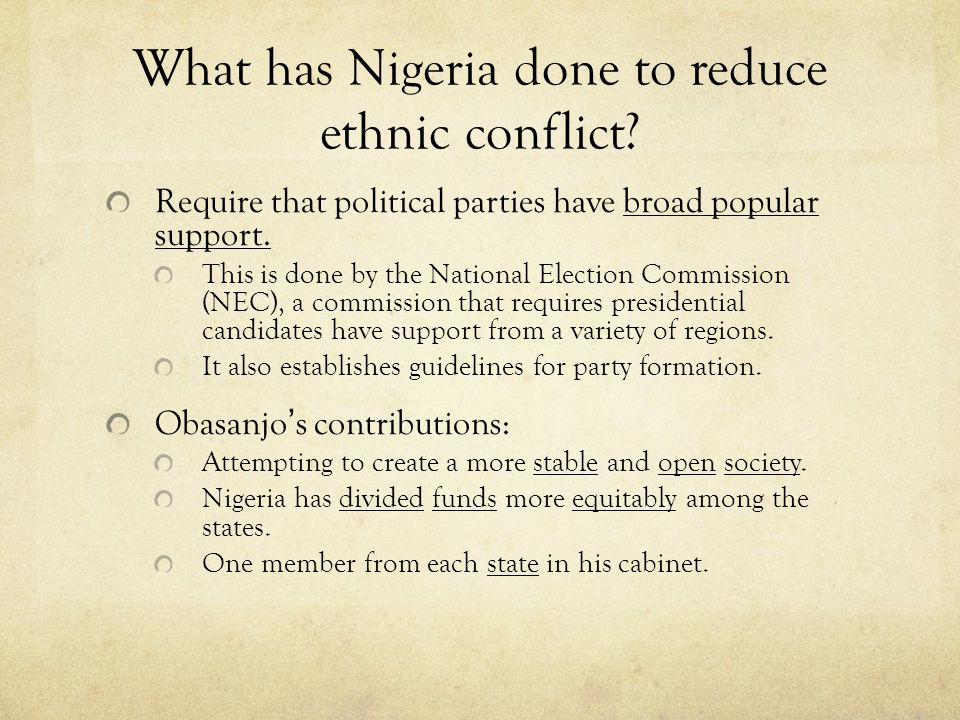 nigeria's religious and cultural conflict Nigeria's religious and cultural conflict by ike chidi  the religious conflicts plaguing nigeria is also a result of the economy of the nation in the 1980's .