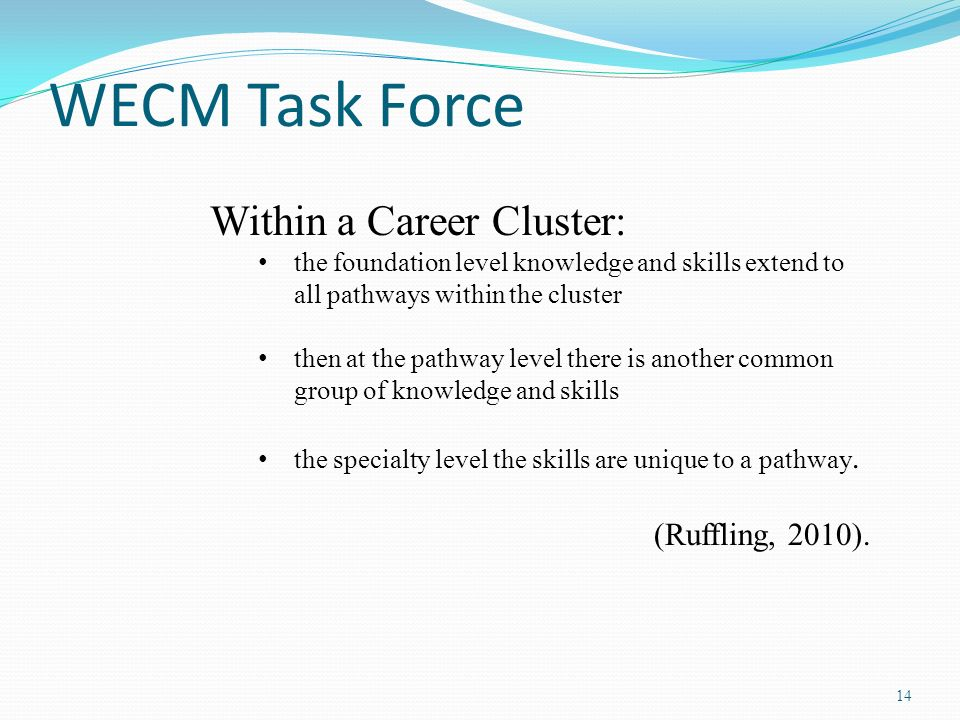 WECM Task Force Within a Career Cluster: (Ruffling, 2010).