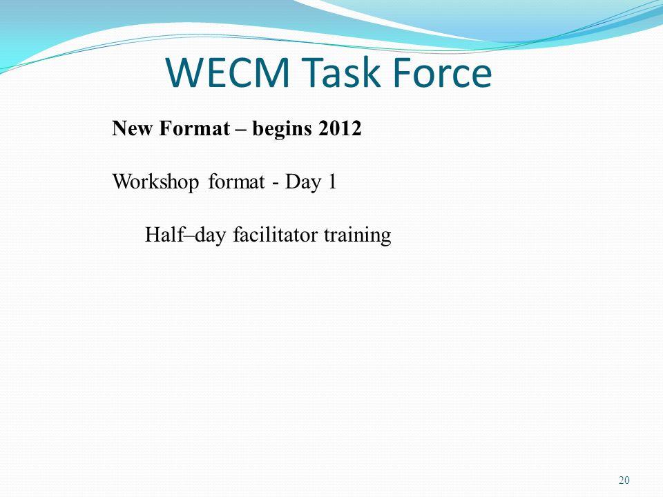 WECM Task Force New Format – begins 2012 Workshop format - Day 1
