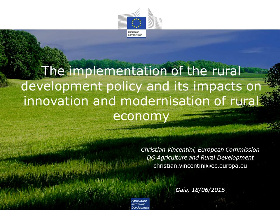 The implementation of the rural development policy and its impacts on innovation and modernisation of rural economy