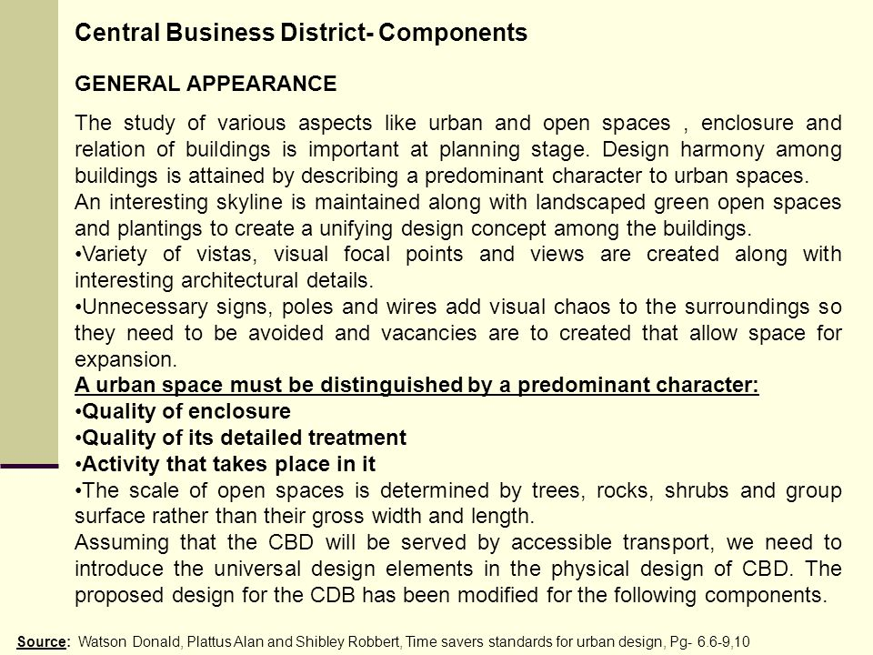 Central Business District- Components