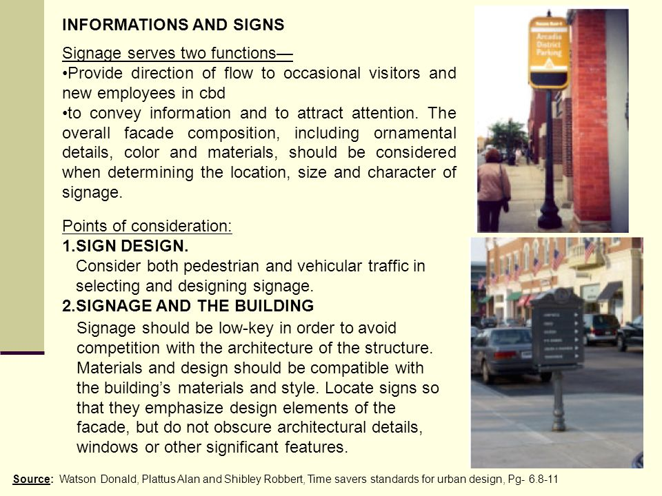 INFORMATIONS AND SIGNS