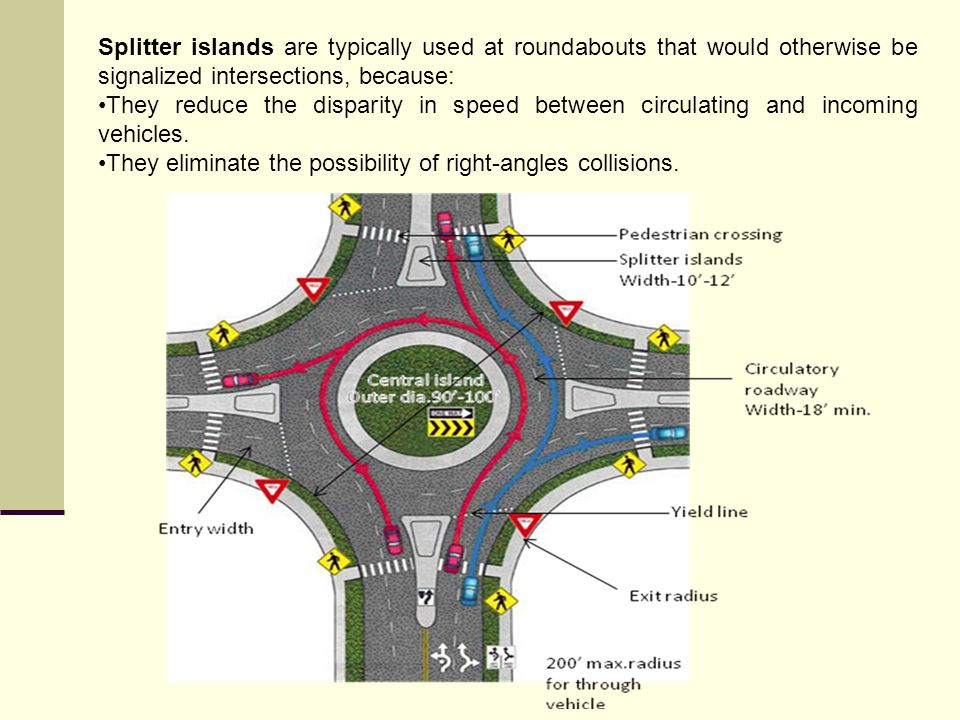 Splitter islands are typically used at roundabouts that would otherwise be signalized intersections, because: