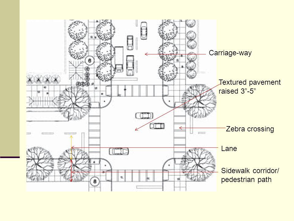 Carriage-way Textured pavement raised 3 -5 Zebra crossing Lane Sidewalk corridor/ pedestrian path