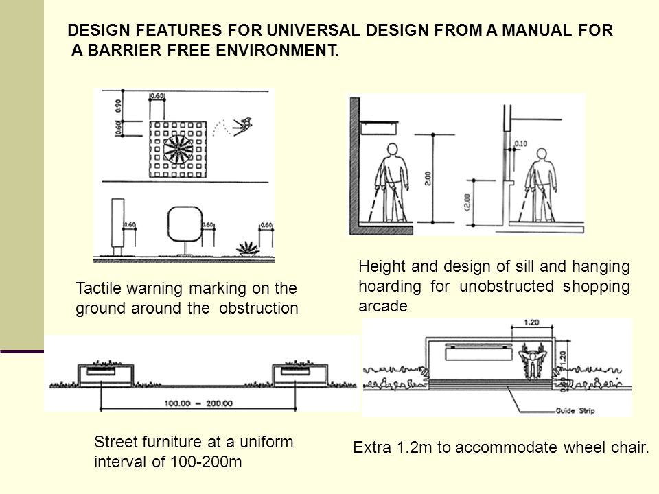 DESIGN FEATURES FOR UNIVERSAL DESIGN FROM A MANUAL FOR