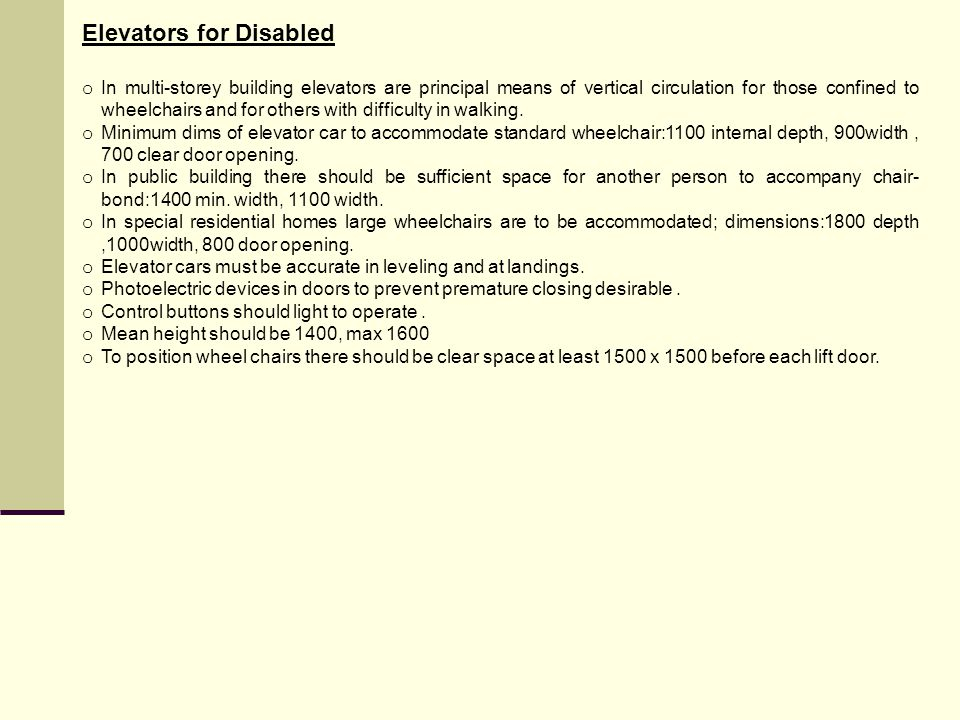 Elevators for Disabled