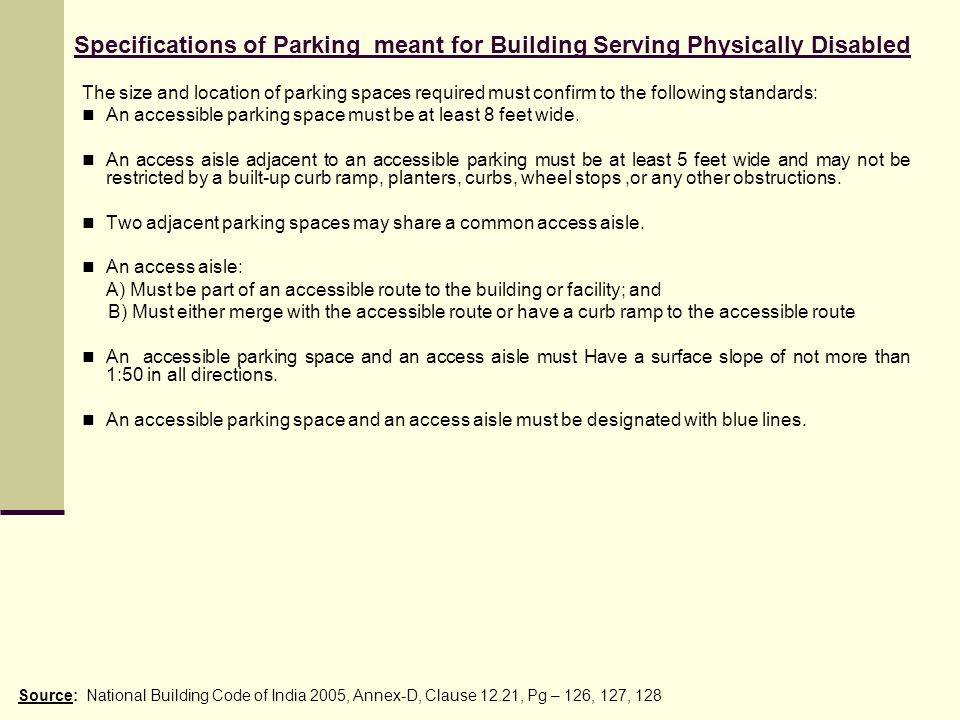 Specifications of Parking meant for Building Serving Physically Disabled