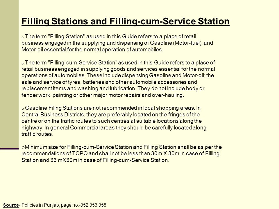 Filling Stations and Filling-cum-Service Station