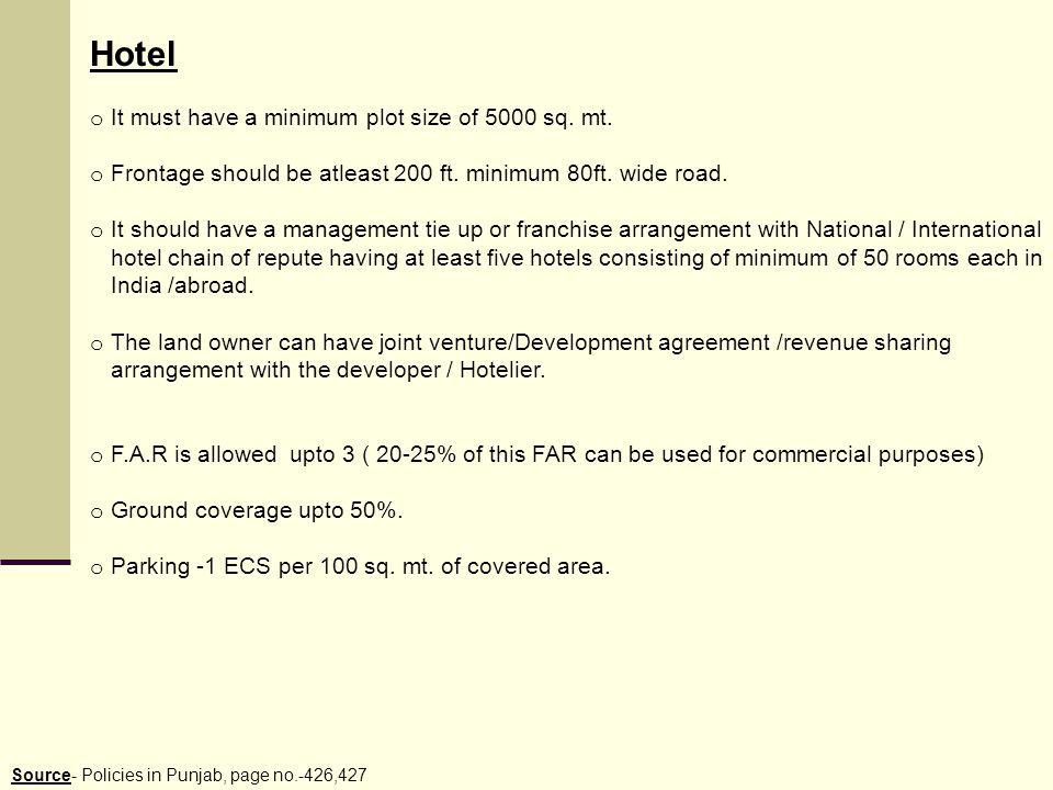 Hotel It must have a minimum plot size of 5000 sq. mt.