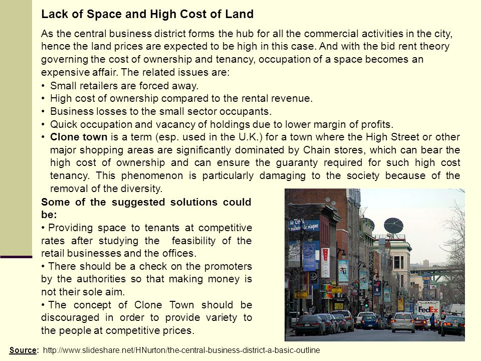 Lack of Space and High Cost of Land