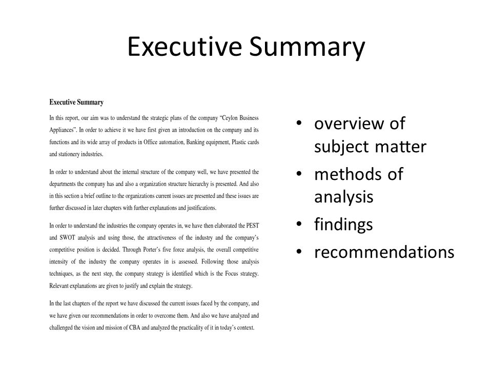 sample executive summary for business report