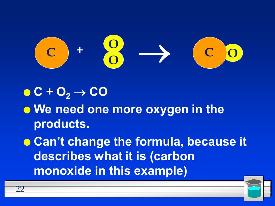 ® O + C C O O C + O2 ® CO We need one more oxygen in the products.