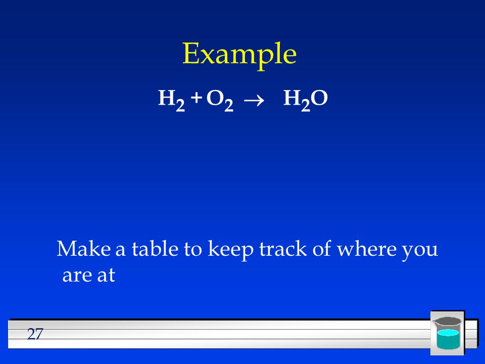 Example H2 + O2 ® H2O Make a table to keep track of where you are at