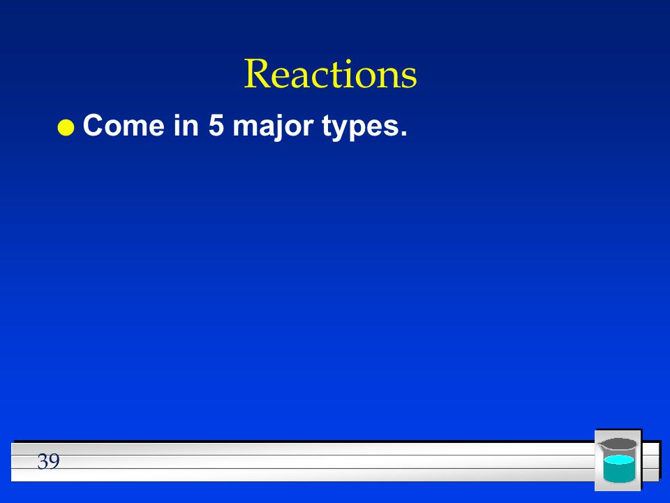 Reactions Come in 5 major types.