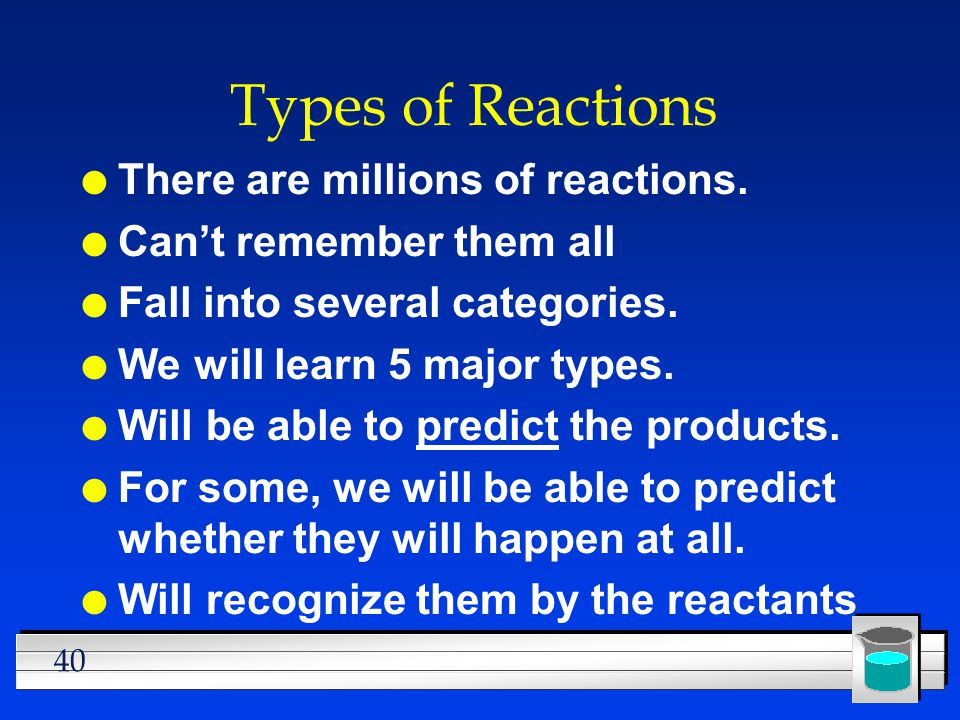 Types of Reactions There are millions of reactions.