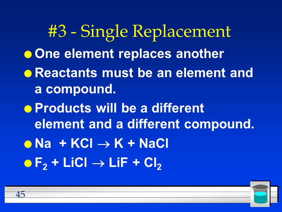 #3 - Single Replacement One element replaces another