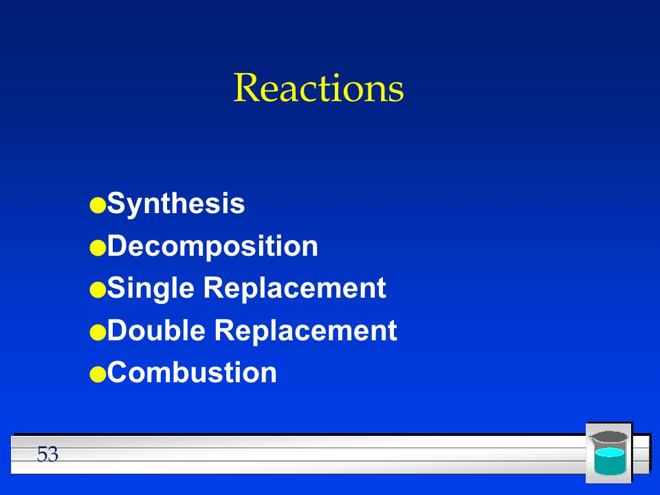 Reactions Synthesis Decomposition Single Replacement