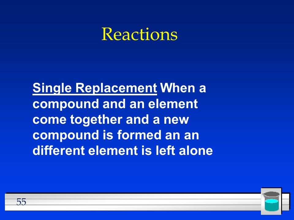 Reactions Single Replacement When a compound and an element come together and a new compound is formed an an different element is left alone.