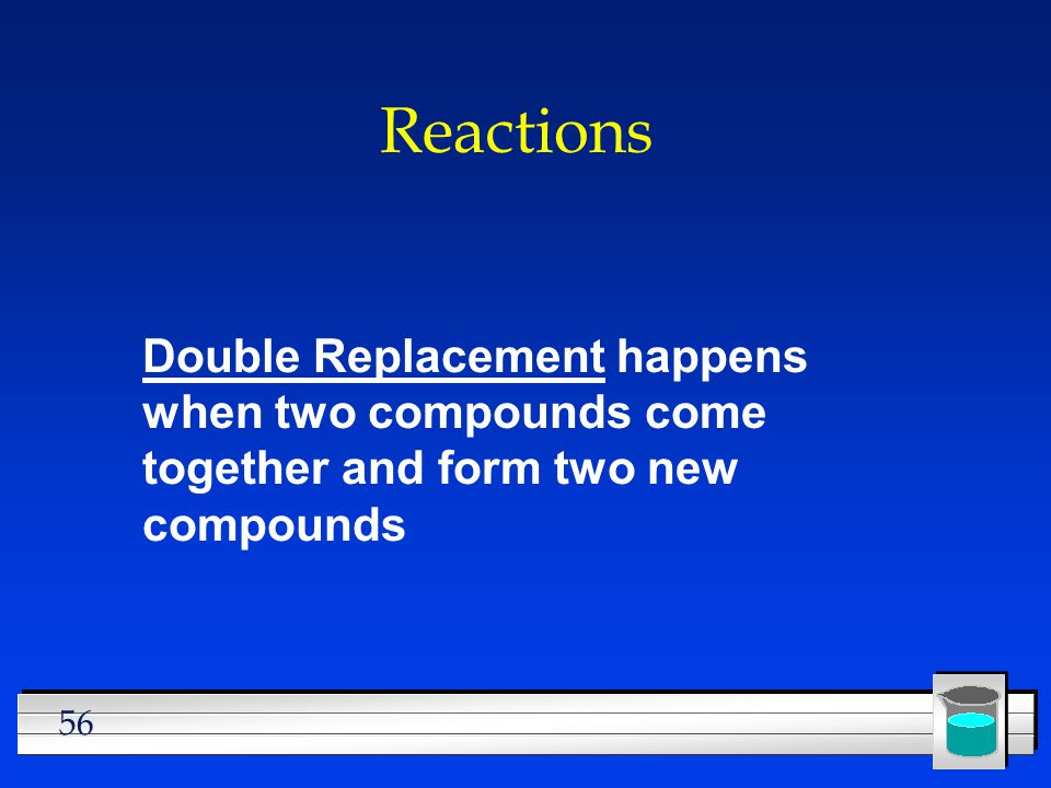 Reactions Double Replacement happens when two compounds come together and form two new compounds