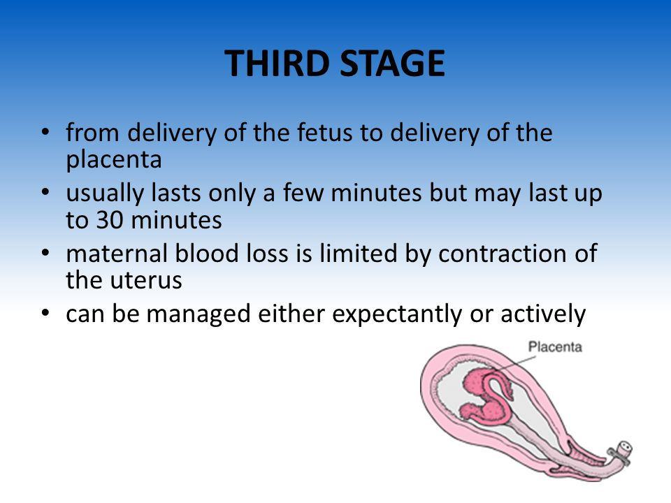 THIRD STAGE from delivery of the fetus to delivery of the placenta