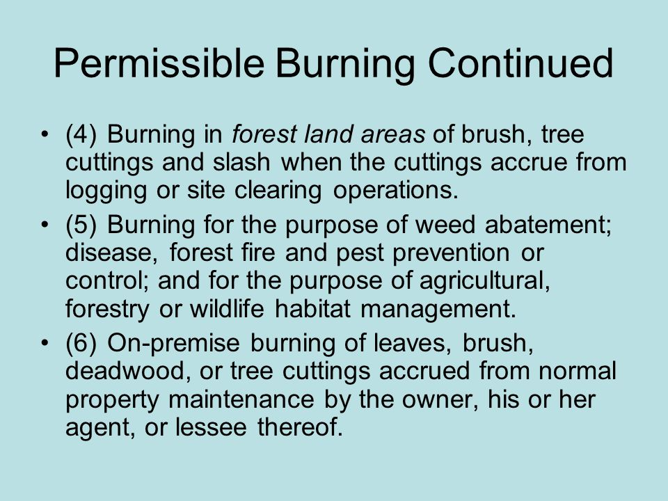 Permissible Burning Continued
