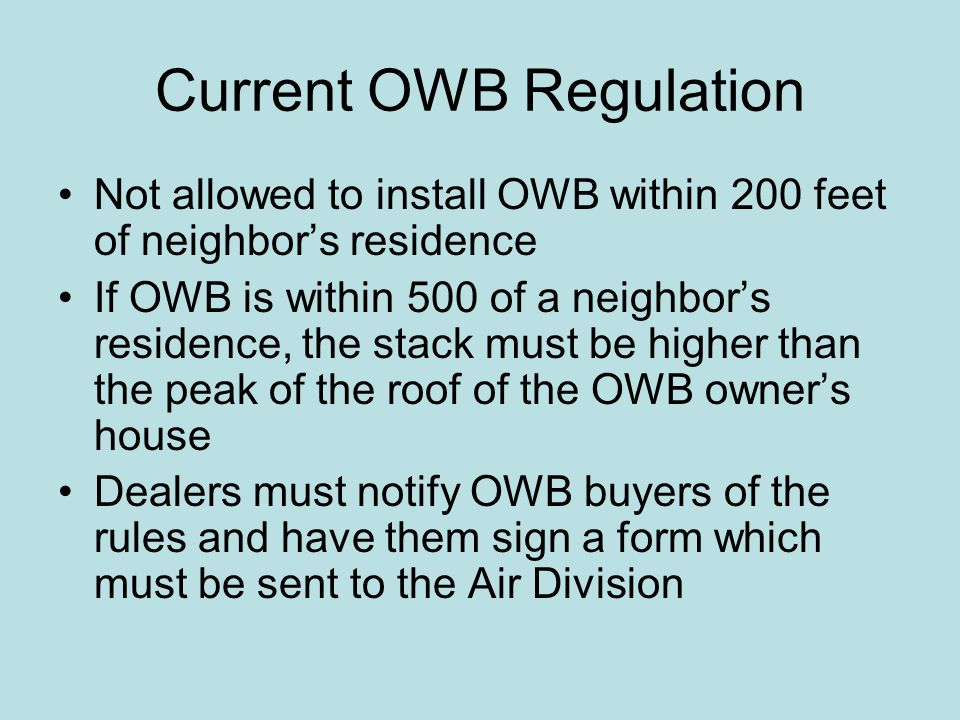 Current OWB Regulation