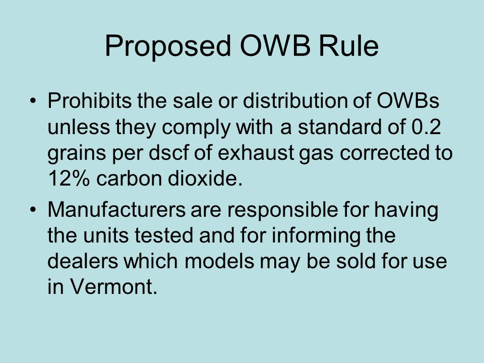 Proposed OWB Rule