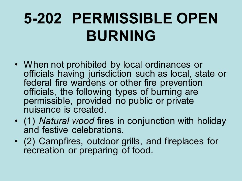5-202 PERMISSIBLE OPEN BURNING