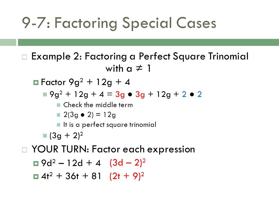 97 Factoring Special Cases ppt download – Perfect Square Trinomial Worksheet