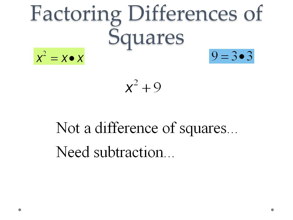Factoring Differences of Squares