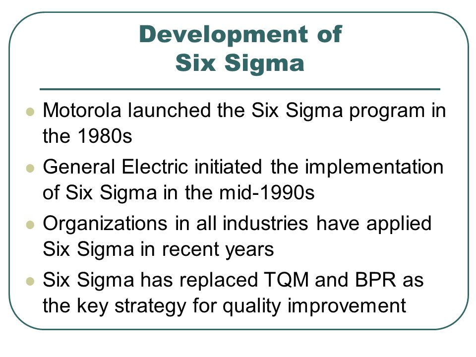 Development of Six Sigma