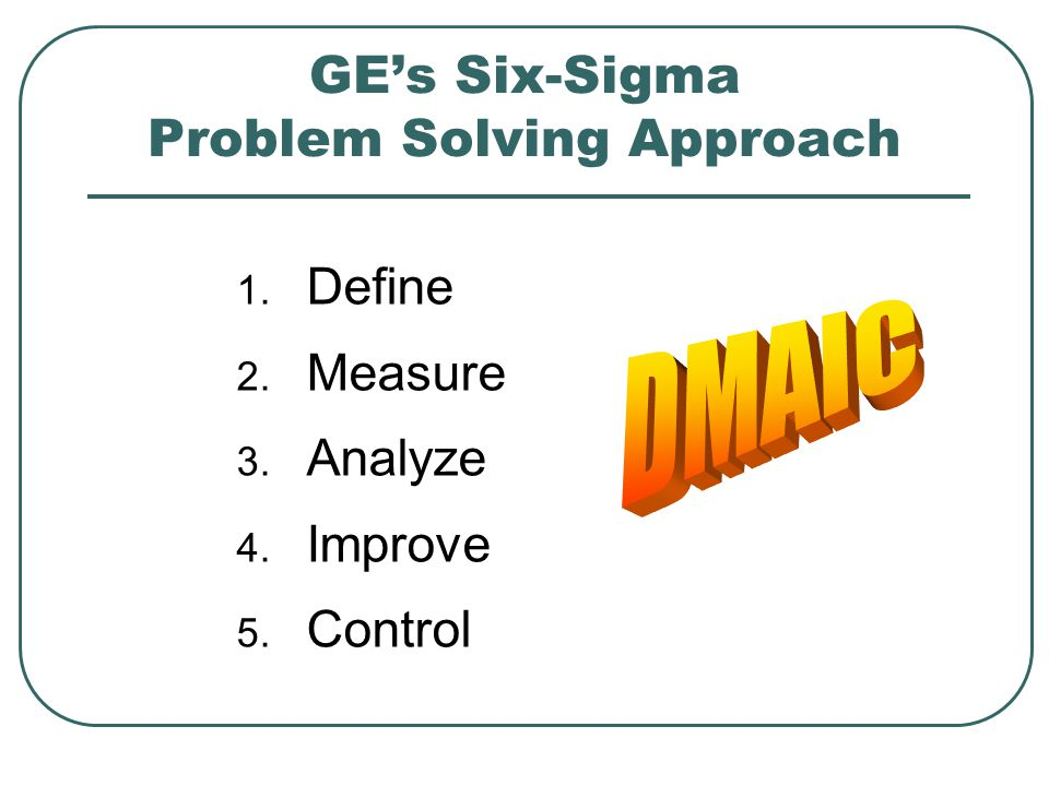 GE's Six-Sigma Problem Solving Approach